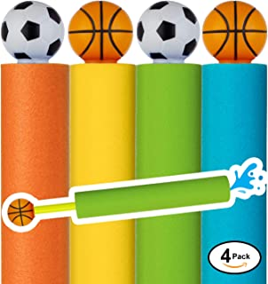 Water Blaster Soaker Gun - 4 Pack Safe Foam Noodle Pump Action Outdoor Water Toy for Kids and Adults - Pool Beach Yard and Park Play. Basketball and Football Handles in 4 Colors. Up to 30 ft. Blast