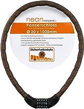 nean Fiets-motorfiets-pantser-kabel-cijferslot, cijfercode-combinatieslot, mat zwart, 20 x 1000 mm