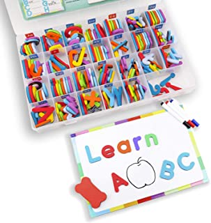 Hiverst Magnetic Alphabet Letters Kit with Double Side Magnetic Board - ABC Uppercase and Lowercase Magnet for Kids Spelling - Classroom & Home School Learning Tool (208 Letters with 3 Markers)