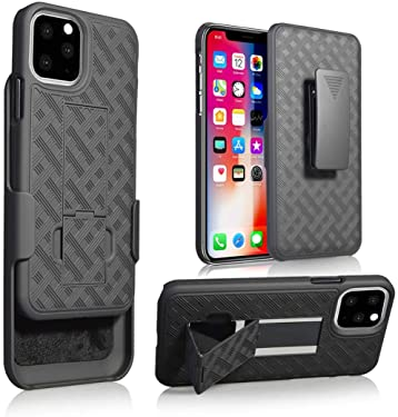 """CASEME Bolt Series for iPhone 11 Pro Max Back Cover Case - Heavy-Duty Military-Grade Drop Protection with Kickstand Included Belt Clip Holster - 6.5"""" 2019, Black (iPhone 11 Pro Max (6.5 inch))"""