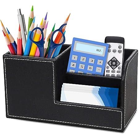 Organiseur de bureau,Papeterie de bureau Organisateur de Bureau multifonction en cuir avec Cartes/stylo/Téléphone Portable/Télécommande boîte de rangement pour fournitures de bureau(Noir)