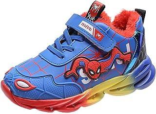 WQLESO Enfants Spiderman LED Lumière Lumineuse Bande Dessinée Sport Baskets Garçons Plus Le Velours Est des Chaussures De ...