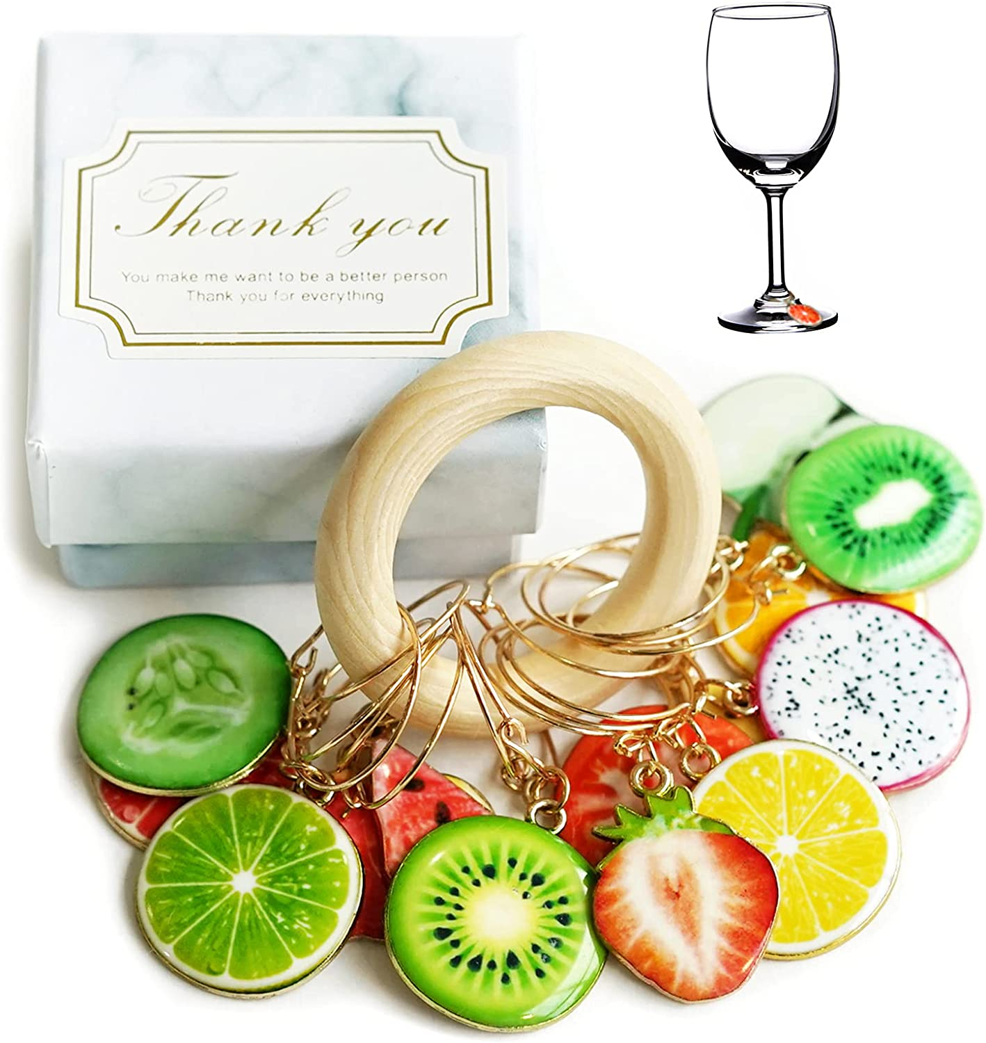 Wine Glass Charms 14 PCS Drink Themed Markers Max 44% OFF Rare Fruit Set Reusabl