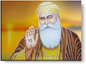 YaYa Cafe™ 18x24 inches Holy Guru Nanak Dev Ji Sikhism Sikh Guru Canvas Wall Painting Hangings Gurpurab
