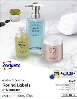 """ملصقات Avery 2"""" دائرية، تطعم بإحكام، حواف نزيفة كاملة، ملصقات قابلة للتخصيص، 120 ملصق شفاف لامع (22825)"""