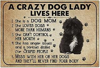 Personalized Doormat A Crazy Dog Lady Doormat - Black Shih Tzu Front Door Mat Mat Outdoor for Home Outdoor Mat for Entry W...