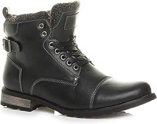 Ajvani Men's Lace Up Fur Trim Military Biker Ankle Boots Size