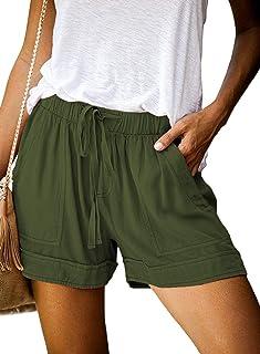 Womens Summer Beach Shorts Elastic Waist Drawstring Lightweight Pocketed Short Lounge Pants