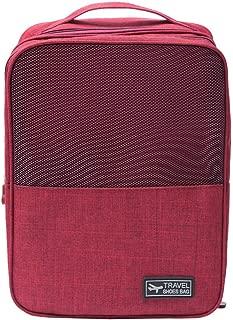 BOLUOYI Travel Portable Shoe Bag Waterproof Zip Window Pouch Storage Ventilation Bags (Red)