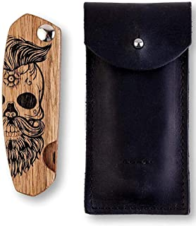 Wooden Beard Comb for Men with Leather Case. Folding Pocket Comb for Moustache, Beard & Hair. Walnut Combs Engraved w/Skull