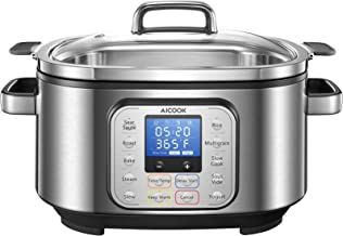 Slow Cooker 6 Quart, AICOOK 10-in-1 Multi-Cooker Programmable Steamer Food Warmer Yogurt Maker Rice Cooker with Stainless ...