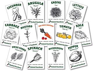 Organic Salad Garden - Heirloom Non-GMO Vegetable Seeds - 13 Varieties for Kitchen Gardening - Lettuce Kale Carrots Tomato Cucumber and More