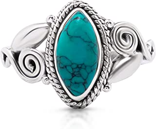Synthetic Turquoise Vintage Gipsy Spiral Side Small Ring 925 Sterling Silver Boho Chic US Size 5 6 7 8 9