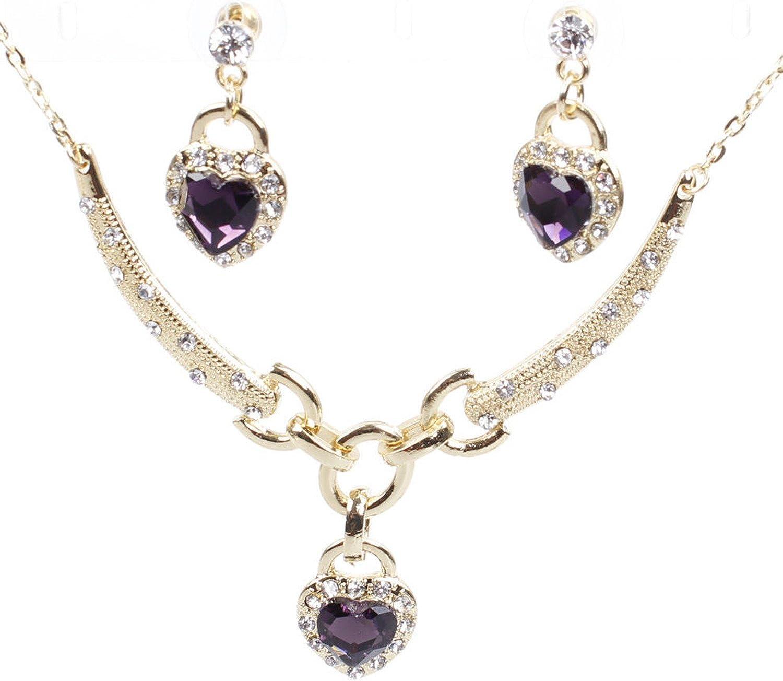 Books & Arts Museum _ Persian Fashion Jewelry: 18k Gold Plated Dark Purple Crystal Rhinestone Necklace + Earrings Set # B3-393