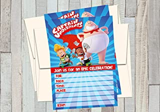 12 CAPTAIN UNDERPANTS - THE FIRST EPIC MOVIE - Birthday Invitations (12 5x7in Cards, 12 matching white envelopes)