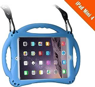 TopEsct iPad Mini 4 Case Kids Shockproof Handle Stand Cover&(Tempered Glass Screen Protector) for iPad Mini4(MIni4 Blue)