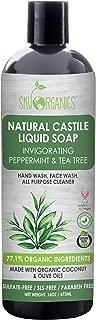 Castile Soap Organic Peppermint Tea Tree by Sky Organics (16oz), Plant Based Liquid Soap and All Purpose Wash, Vegan & Cruelty-Free, Mint & Tea Tree Essential Oils Natural Acne Wash Savon de Marseille