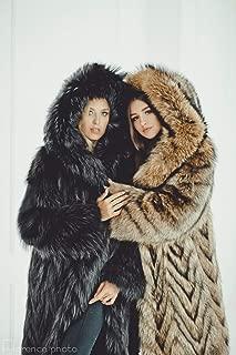 Fur long coat for women Winter Hooded