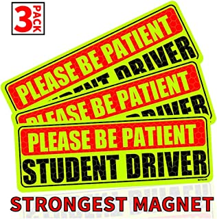 BOTOCAR Student Driver Magnet Car Signs Please Be Patient Student Driver Magnets Reflective Vehicle Bumper Sticker for New Drivers Magnetic Sticker Yellow Large Bold Text 10 x 3.5 Inch, Pack of 3