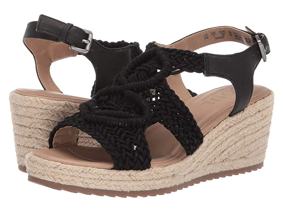 SOUL Naturalizer Oasis (Black Macrame/Fabric/Smooth) Women's Wedge Shoes