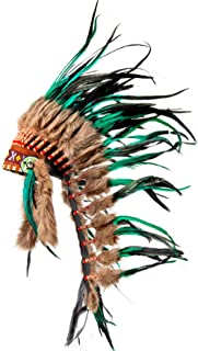 Pink Pineapple Handcrafted Native American Inspired Medium Feather Headdress Green and Black