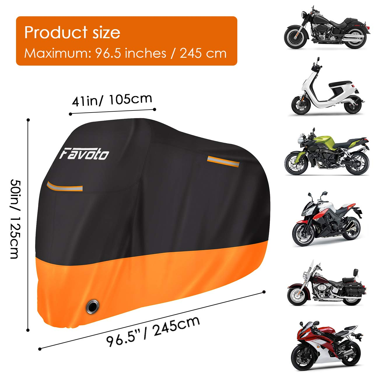 Favoto Funda para Moto Cubierta de Motocicleta 210D Protectora Oxford con Bandas Reflectantes//Salidas de Aire a Prueba de UV Agua Lluvia Polvo Viento Nieve Excremento de P/ájaro XXL 245cm Negro+Plata