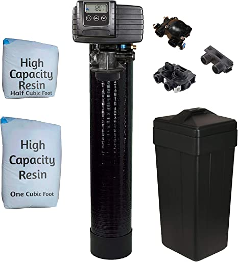 """AFWFilters 5600sxt Metered On-demand 48,000 Grain Water Softener with brine tank, bypass and 1"""" adapters"""