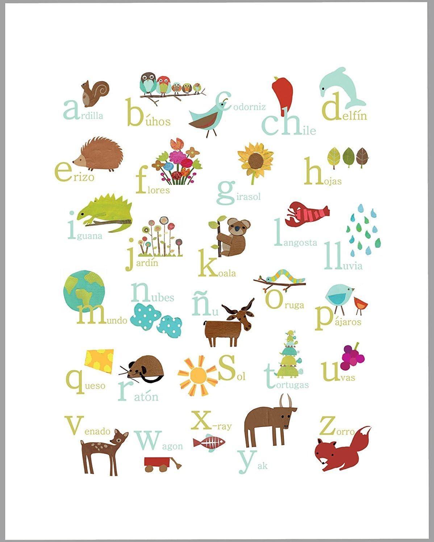 Amazon.com Nature Themed Spanish Alphabet Wall Art Print 20x20 ...