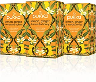 Pukka Lemon Ginger & Manuka Honey, Organic Herbal Tea Bags (3 Pack, 60 Tea Bags)