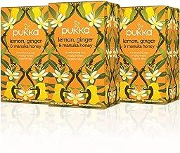 Pukka Lemon Ginger & Manuka Honey, Organic Herbal Tea Bags (3 Pack, 60 Tea Bags)