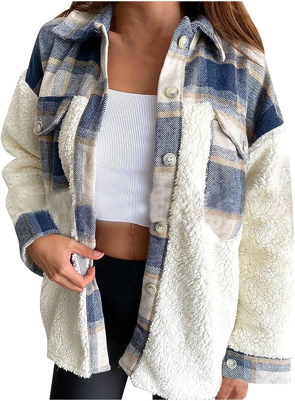 Women Denim Plaid Stitching Button Down Jackets,Plus Size Color Block Coats Fuzzy Fleece Going Out Winter Warm Outwear