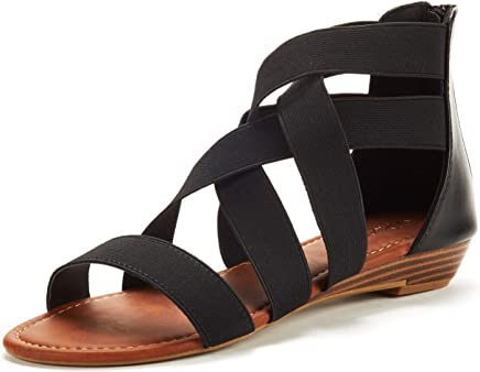 DREAM PAIRS Women's Elastica8 Summer Fashion Design Ankle Low Wedges Sandals