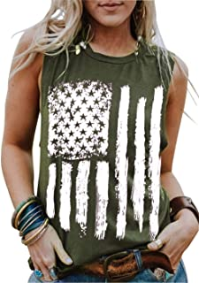 4th of July Tank Tops Shirts for Women American US Flag...