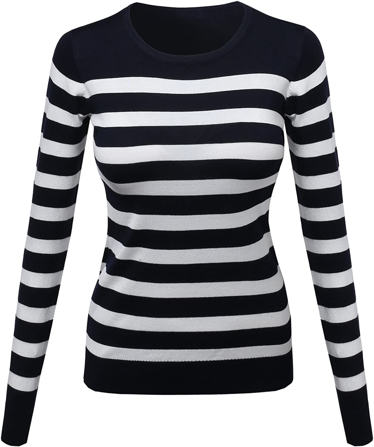 Awesome21 Women's Comtemporary Textured Bold Stripe Sweater