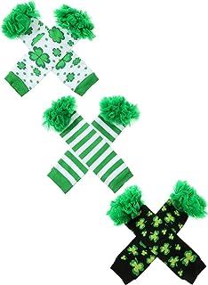 3 Pares de Calentadores de Pierna de Día de San Patricio Calcetines sin Pies Accesorios de Disfraz de Fiesta para Niñas (Conjunto de Estilo 2)