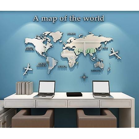 Pegatinas de Pared 3D DIY Mapa del Mundo Vinilos Pegatina Pared Murales Stickers Mapa Adhesivo Decorativo de Pared para Salón, Dormitorio, Oficina, Habitación, Hogar(B Plata,M)