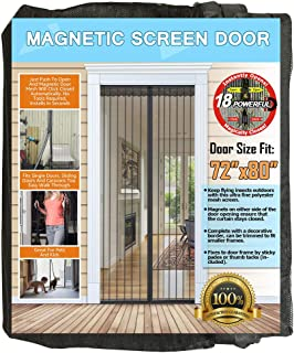 NGreen Reinforced Magnetic Screen Door - Heavy Duty Mesh Curtain and Full Frame Hook and Loop, Keeps Mosquitoes Out, Toddler and Dog Friendly, No Tools Required (Fits Door Up to 72
