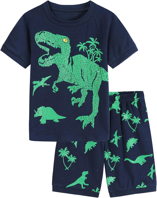 Runytek Toddler Boys Pajamas Shorts Set Summer Clothes 100% Cotton Dinosaur Sleepwear Kids Pjs