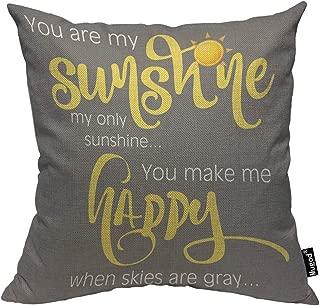 Mugod You are My Sunshine Pillowcase You Make Me Happy Word Art Yellow White Gray 18