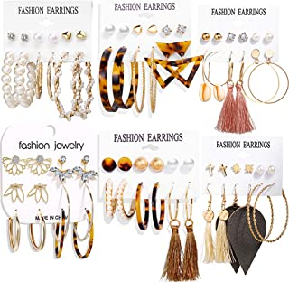 36 Pairs Fashion Tassel Earrings Set for Women Girls Bohemian Acrylic Hoop Stud Drop Dangle Earring Leather Leaf Earrings for Birthday/Party/Christmas/Friendship Gifts
