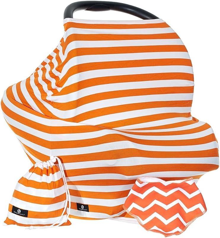 Baby Benjamin Car Seat And Nursing Cover With Bib And Drawstring Bag Orange
