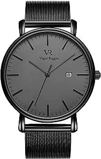 Vigor Rigger Men's Fashion Slim Quartz Date Wrist Watch with Mesh Band