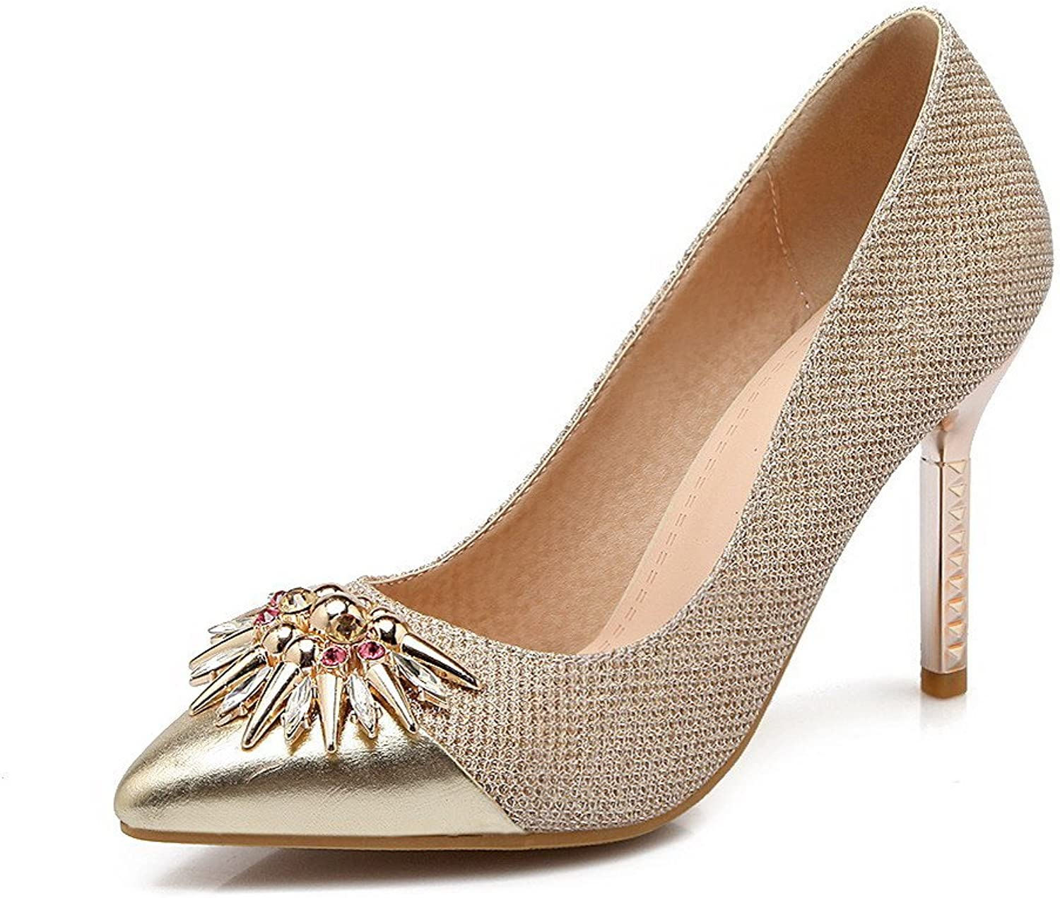 WeenFashion Women's Spikes Stilettos Solid Pull On Pointed Closed Toe Pumps-shoes
