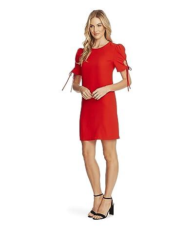 CeCe Puffed Keyhole Tie Sleeve Moss Crepe Dress (Candy Apple) Women
