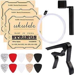 Ukulele Strings, Yoklili 5 Sets of Nylon Ukulele Strings with 10 Felt Picks, String Winder for Soprano (21 Inch) Concert (...