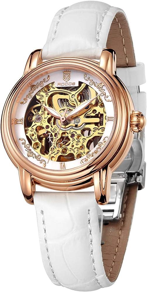 Rocos, orologio automatico per donna,cassa in acciaio 316 l e cinturino in vera pelle R0206