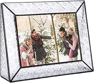 Clear Glass Picture Frame 5x7 Horizontal Photo Display Desk or Tabletop Vintage Home Décor Family Wedding Anniversary Engagement Graduation Baby Gift J Devlin Pic 126 Series