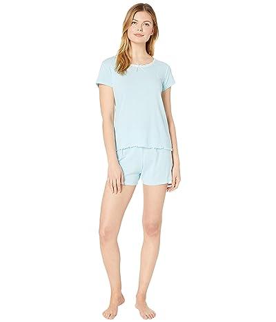 LAUREN Ralph Lauren Slub Rib Knit Short Sleeve Lace Neck Boxer Pajama Set (Blue Stripe) Women