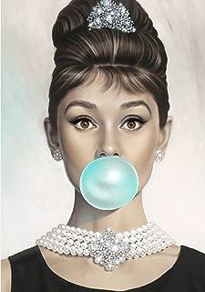 Van Eyck Audrey Hepburn Tiffany Blue Bubble Gum Canvas Poster Wall Art for Bedroom Decor Kitchen Decoration Living Home Decorations(16x20 inch unframed)