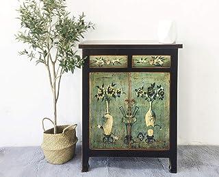Cómoda China aparador armario asiático negro-verde estilo shabby chic vintage para dormitorios y salones